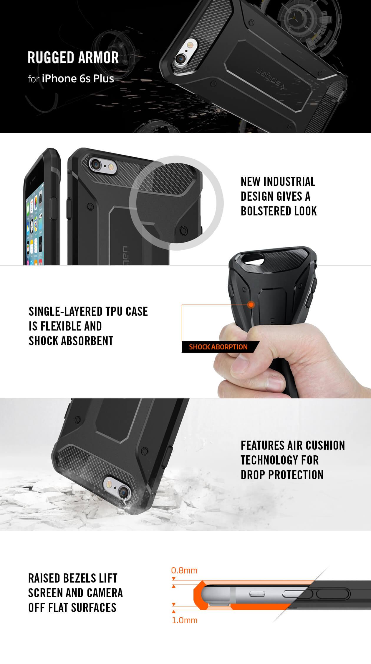 Spigen® Rugged Armor SGP11643 iPhone 6s Plus/6 Plus Case – Carbon Fiber