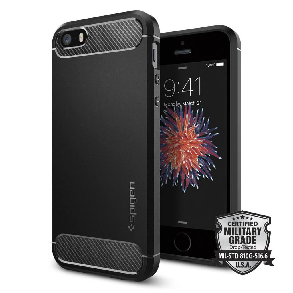 Spigen® Rugged Armor™ SGP 041CS20167 iPhone SE/5s/5 - Carbon Fiber