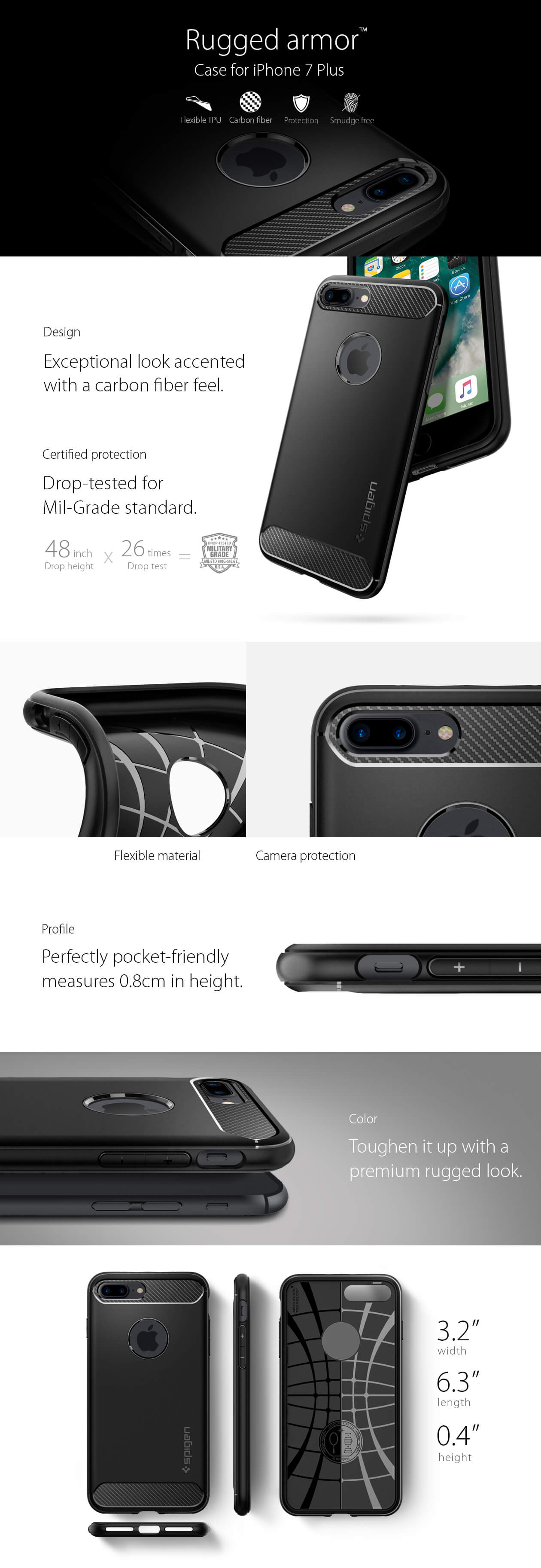 Spigen® Rugged Armor™ SGP 043CS20485 iPhone 7 Plus Case - Carbon Fiber