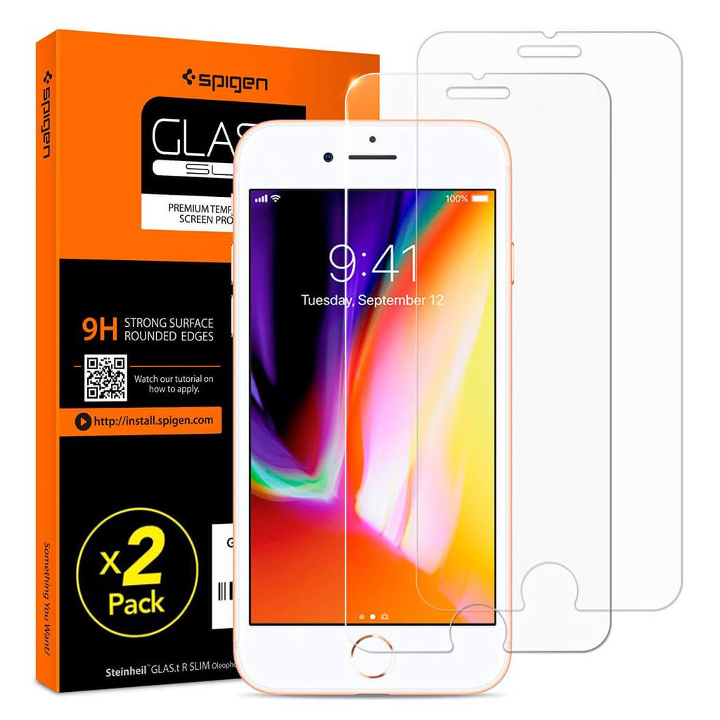 Spigen® (x2Pack) GLAS.tR SLIM™ iPhone 8 / 7 Premium Tempered Glass Screen Protector