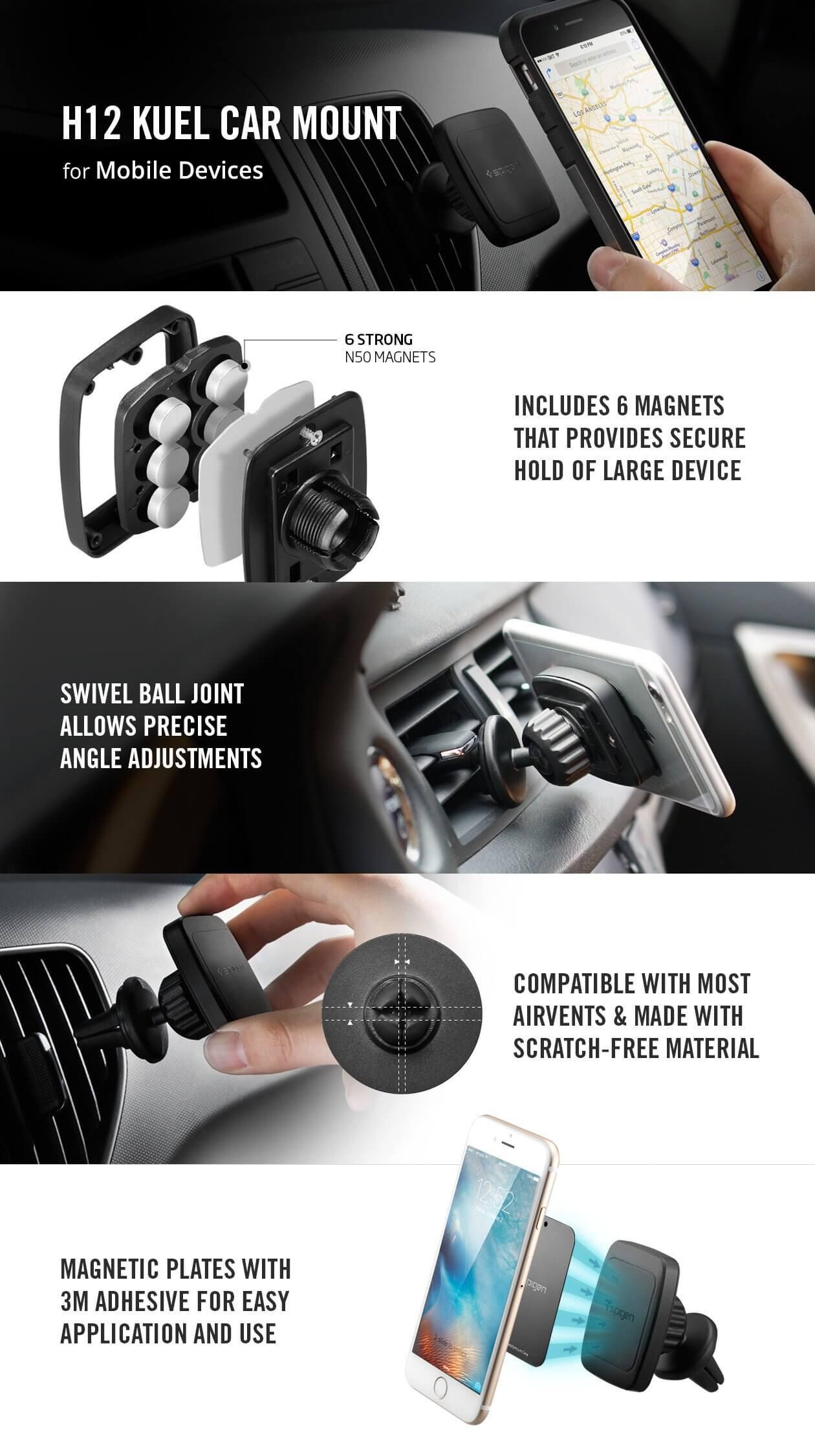 Spigen® Kuel™ H12 Hexa-Core 000CD20115 Magnetic Air Vent Car Mount
