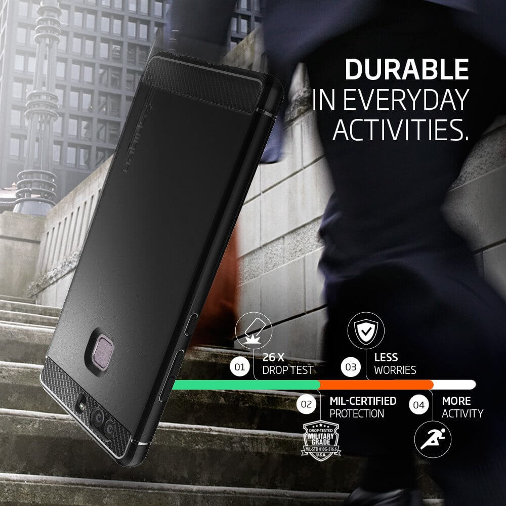 Spigen® Rugged Armor™ SGP L06CS20376 Huawei P9 - Carbon Fiber