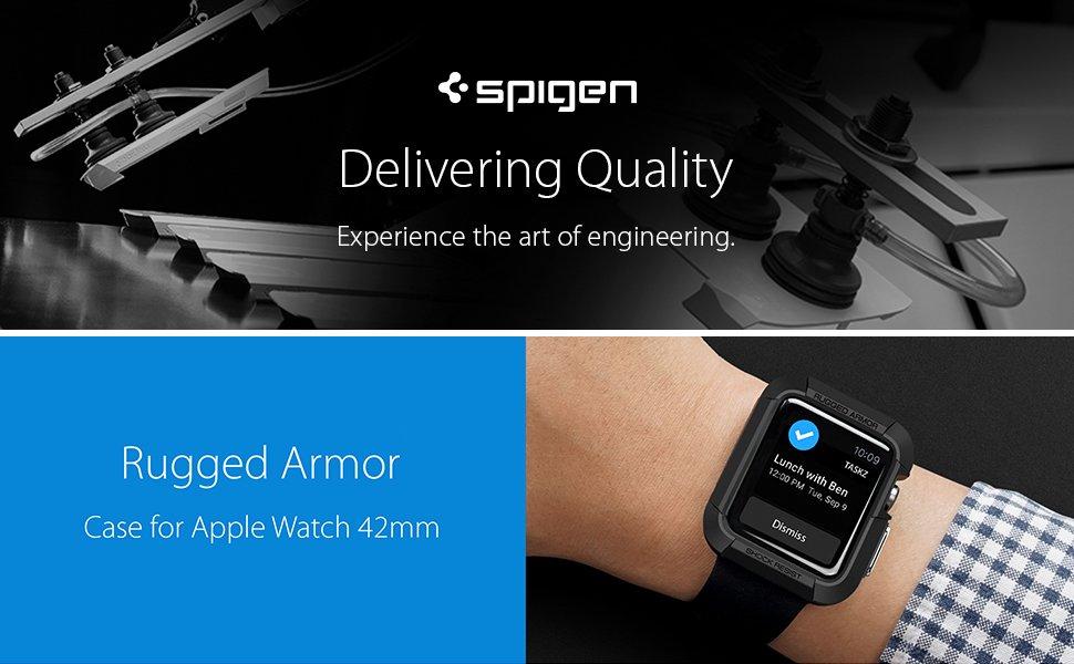 Spigen® Rugged Armor™ SGP11496 Apple Watch 42mm Case - Black