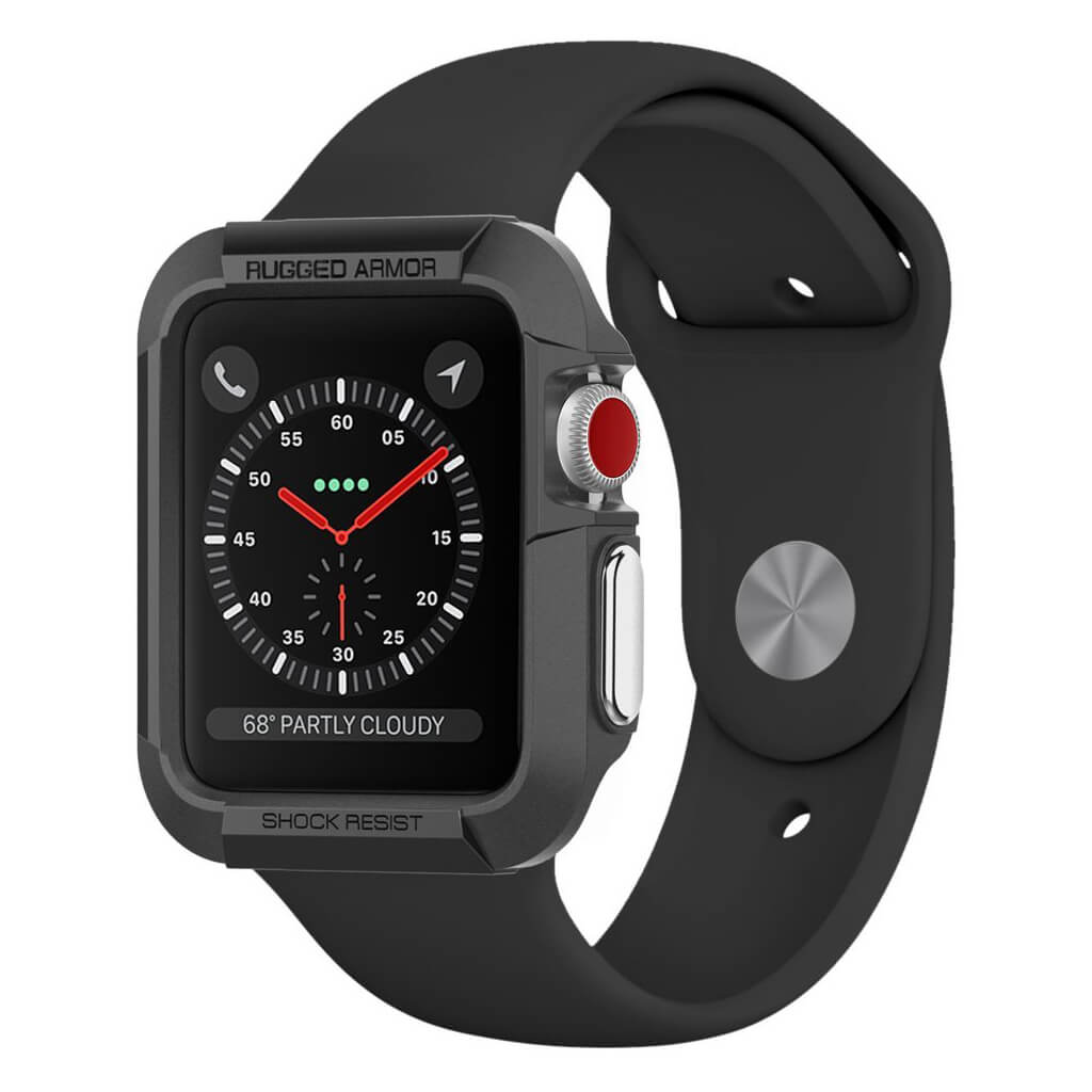 Spigen® Rugged Armor™ SGP11496 Apple Watch Series 3/2/1 (42mm) Case - Black
