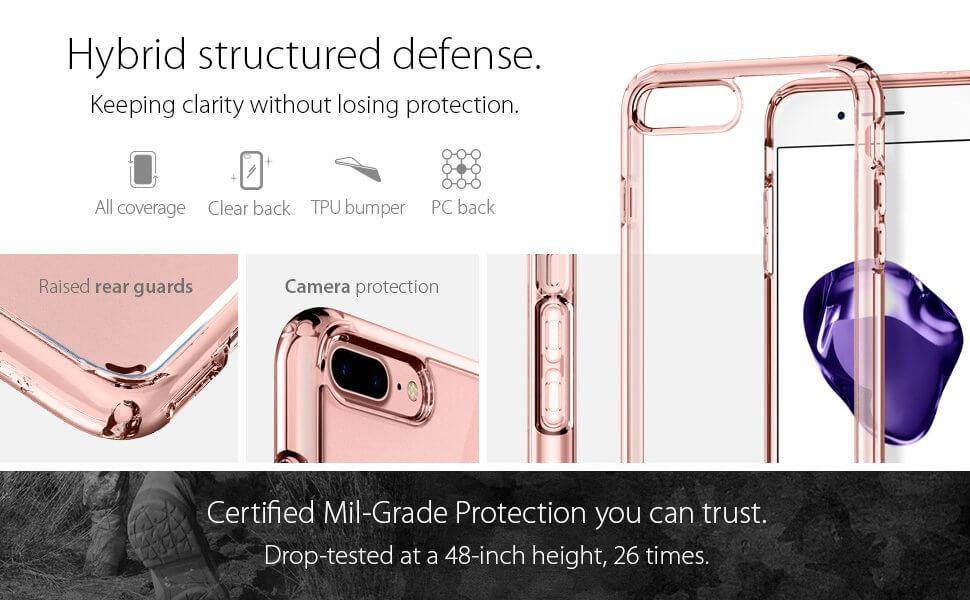 Spigen® Ultra Hybrid™ 2 SGP 043CS21136 iPhone 7 Plus Case - Rose Crystal