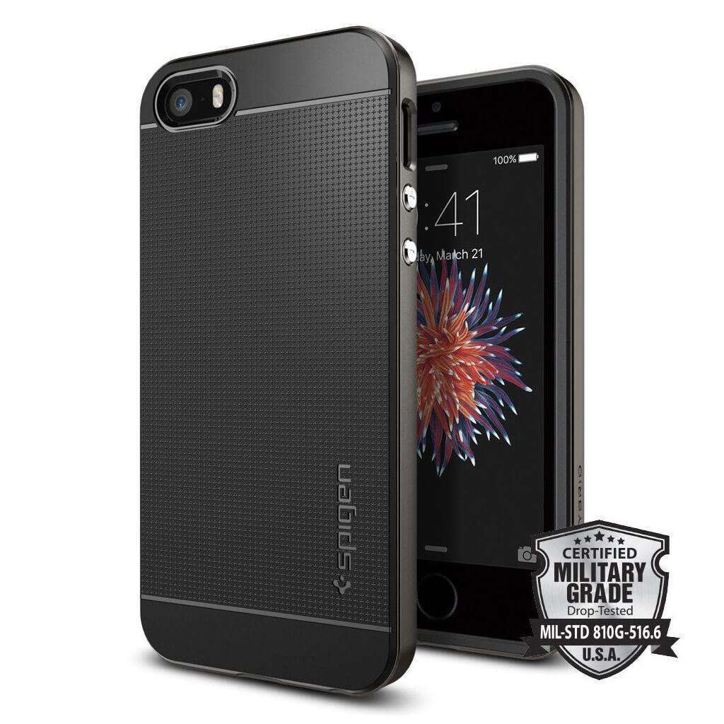 Spigen® Neo Hybrid 041CS20184 iPhone SE/5s/5 Case - Gunmetal