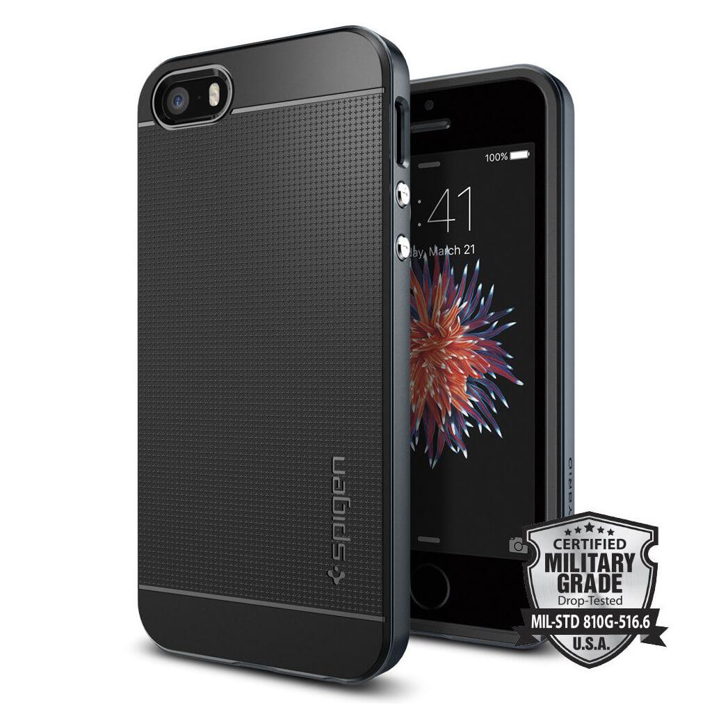 Spigen® Neo Hybrid 041CS20253 iPhone SE/5s/5 Case - Metal Slate