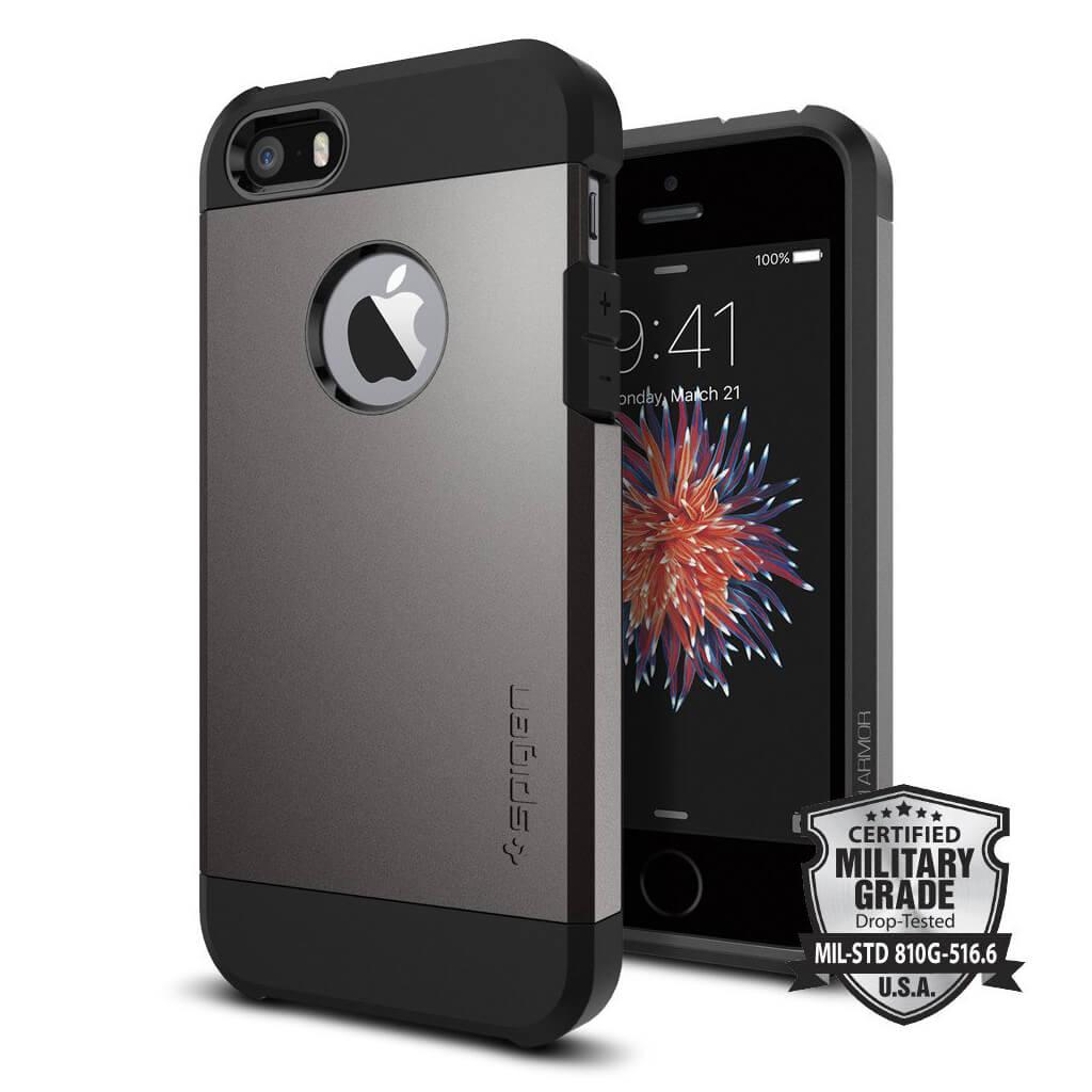 Spigen® Tough Armor 041CS20188 iPhone SE/5s/5 Case - Gunmetal