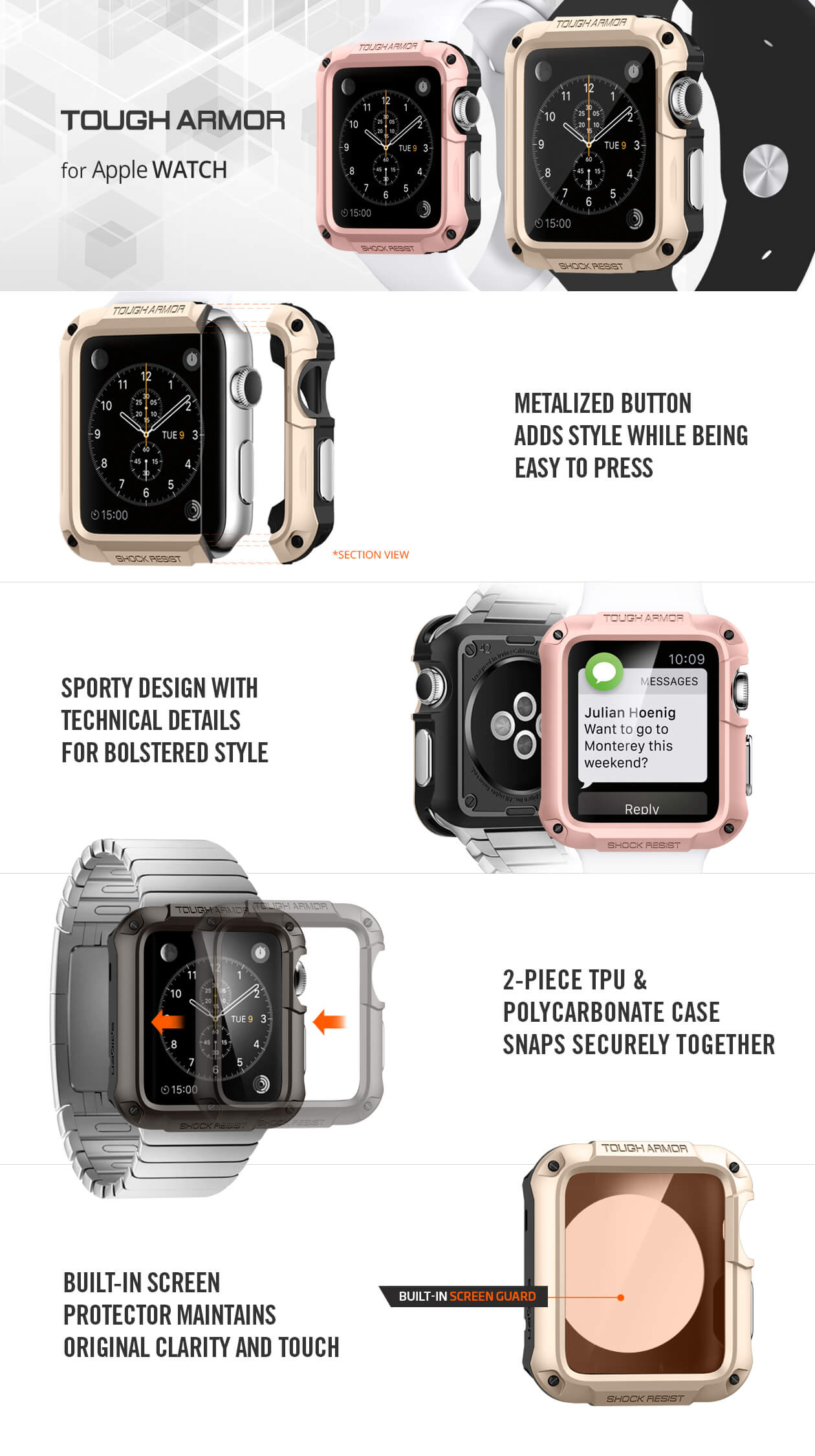 Spigen® Tough Armor Apple Watch Series 2 & Series 1 (42mm)