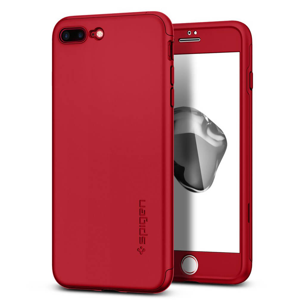 official photos 5e48d bf8e7 Spigen® Thin Fit 360™ 043CS21731 iPhone 7 Plus Case with (x2Pack) Tempered  Glass Screen Protector - Red