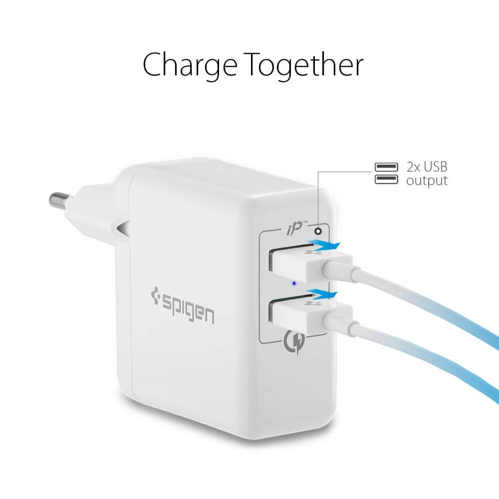 Spigen® F207 Essential™ Quick Charge 3.0 Qualcomm 000AD21390 Wall Charger