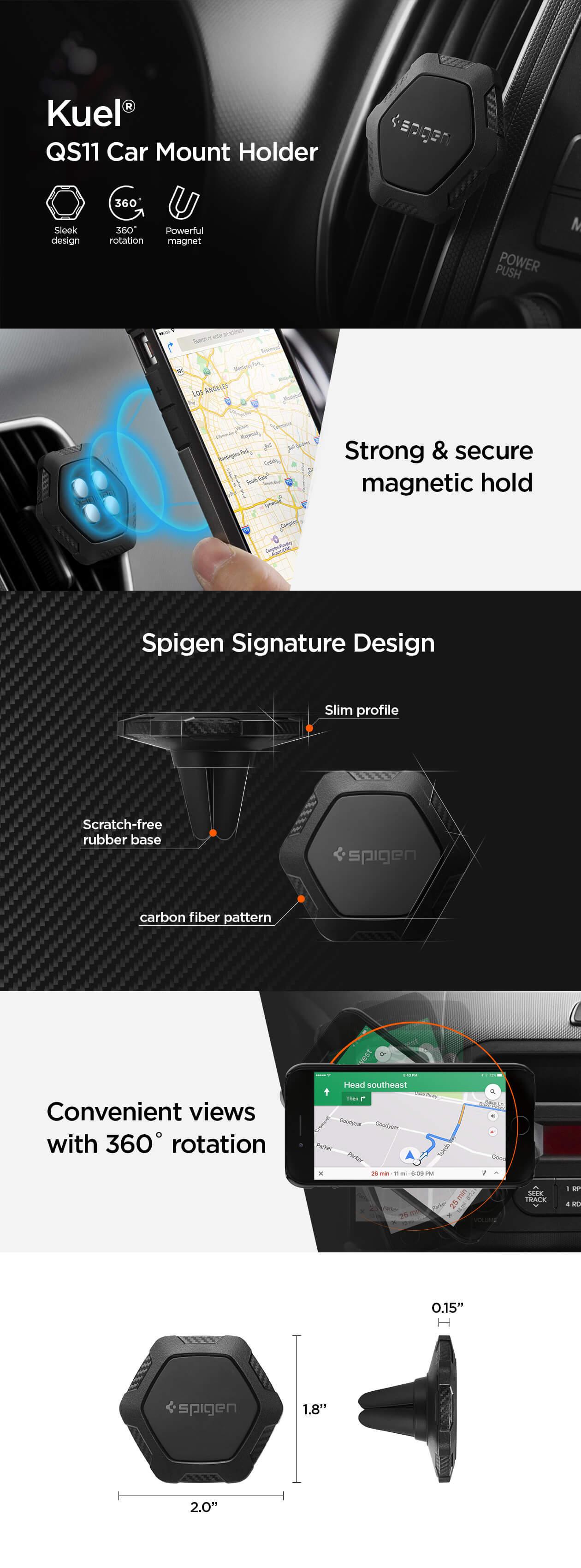 Spigen® Kuel™ QS11 000CG20879 Magnetic Air Vent Car Mount