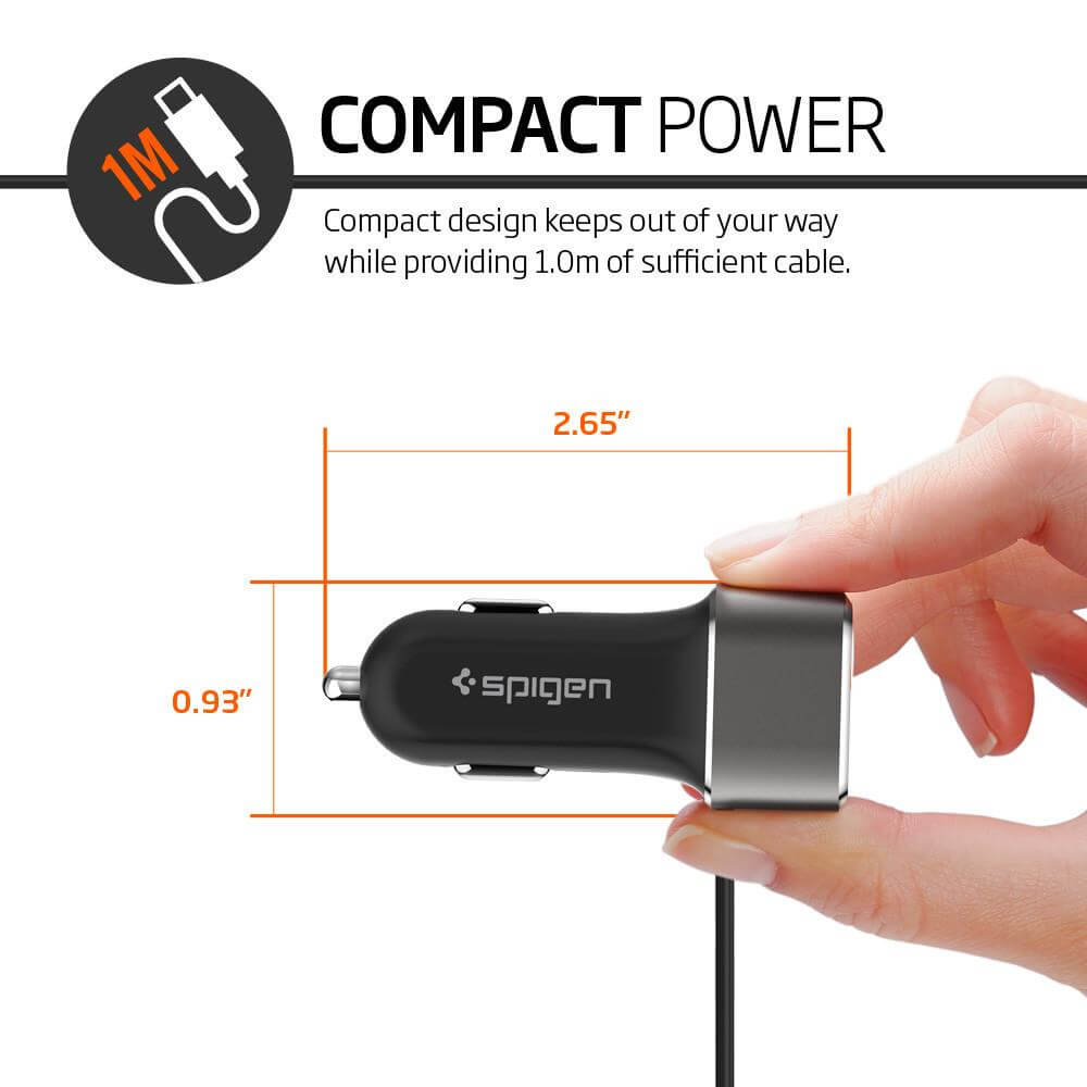 Spigen® F25QC Essential™ SGP11839 USB 5.4A Type C Car Charger