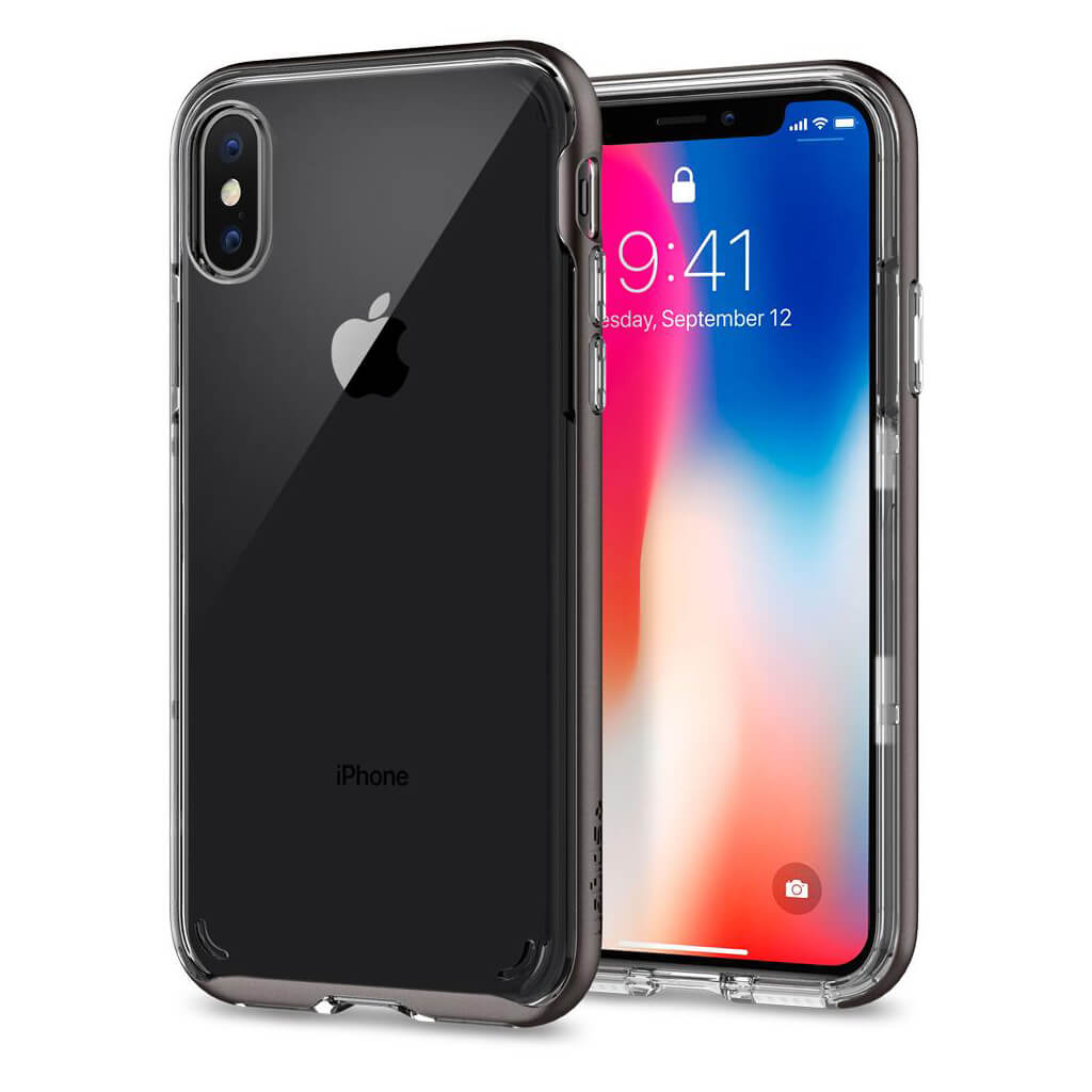 Spigen® Neo Hybrid Crystal™ 057CS22172 iPhone X Case - Gunmetal