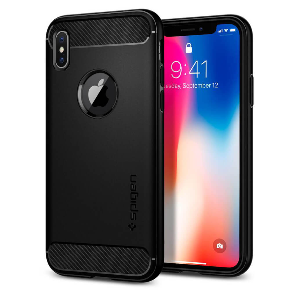 Spigen® Rugged Armor™ 057CS22125 iPhone X Case - Matte Black