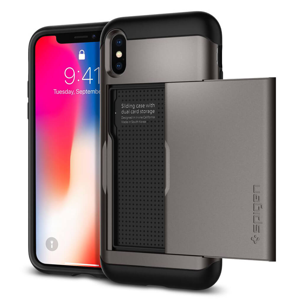 Spigen® Slim Armor CS™ 057CS22156 iPhone X Case - Gunmetal