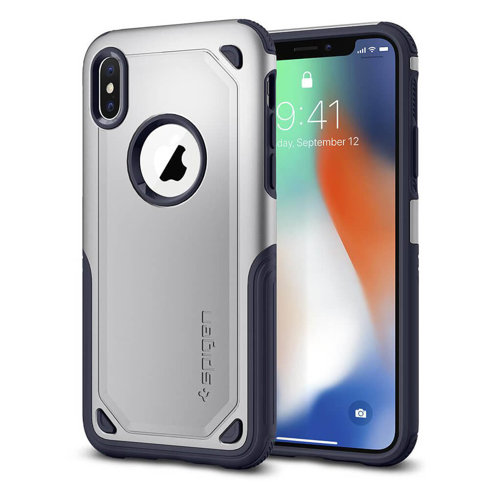 Spigen® Hybrid Armor™ 057CS22352 iPhone X Case - Satin Silver