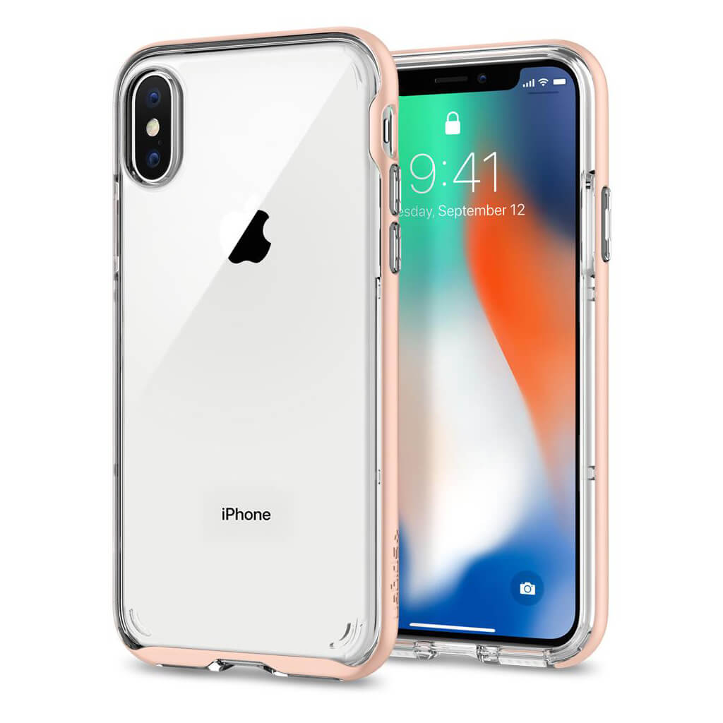 Spigen® Neo Hybrid Crystal™ 057CS22173 iPhone X Case - Blush Gold