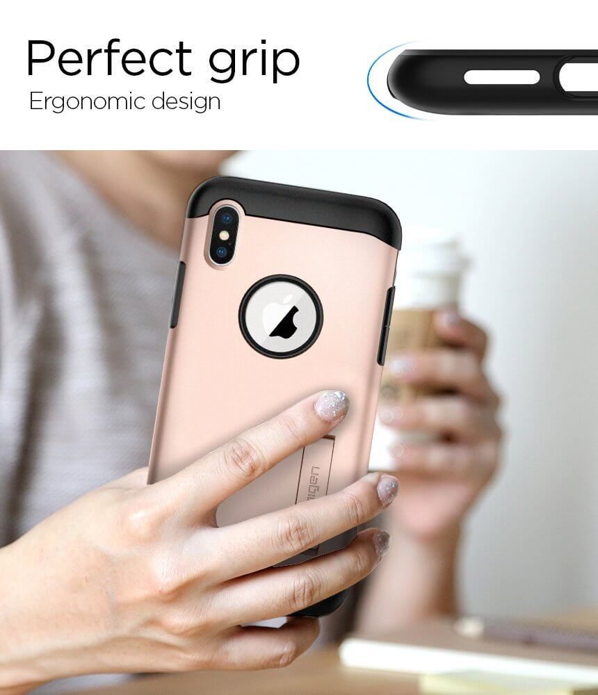 Spigen® Slim Armor™ 057CS22140 iPhone X Case - Blush Gold