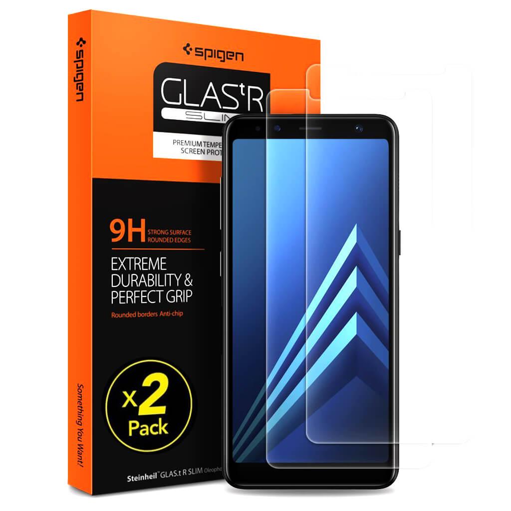 Spigen® (x2Pack) GLAS.tR SLIM™ Samsung Galaxy A8 (2018) Premium Tempered Glass Screen Protector