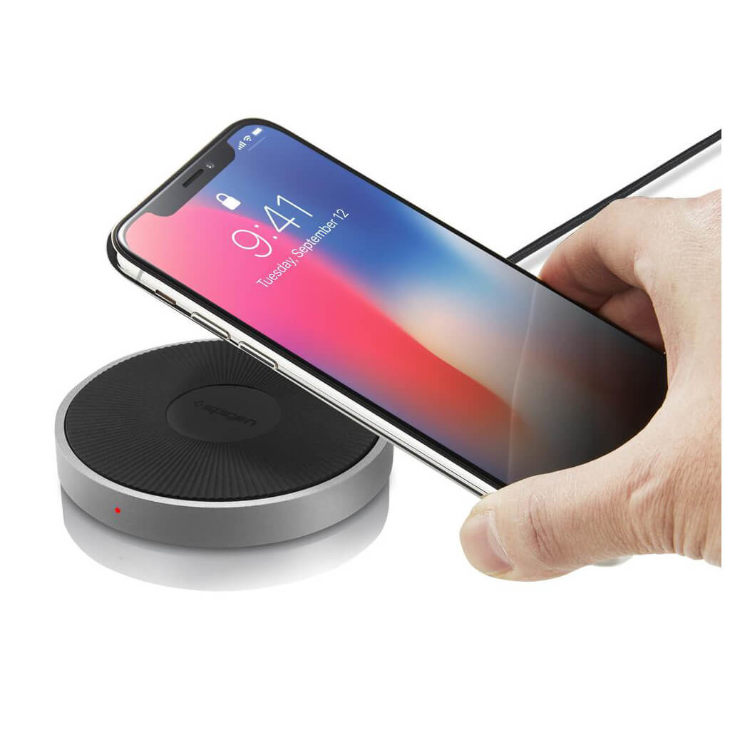 Spigen® Essential® F306W 000CH22566 Qi Fast Wireless Charger - Aluminium