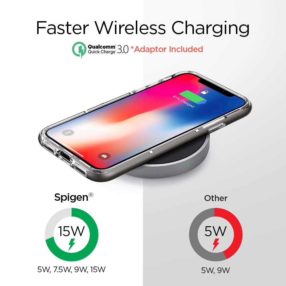 Spigen® Essential® F306W Qualcomm® Quick Charge 3.0 Qi Fast Wireless Charger - Aluminium