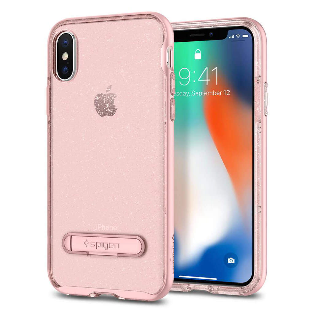 Spigen® Crystal Hybrid Glitter™ 057CS22150 iPhone X Case - Rose Quartz