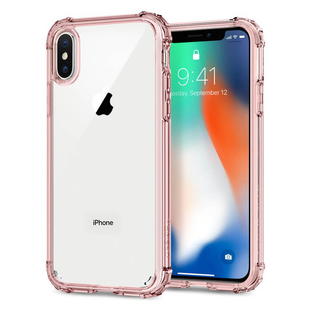 Spigen® Crystal Shell™ 057CS22143 iPhone X Case - Rose Crystal