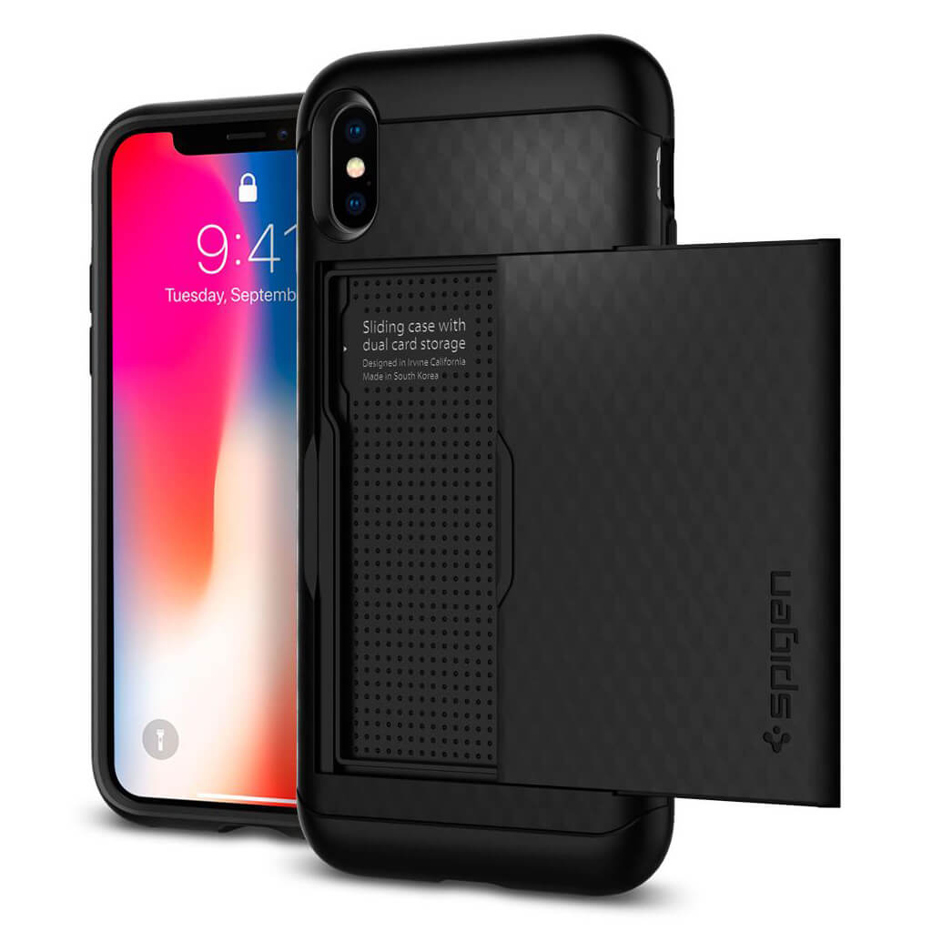 Spigen® Crystal Wallet™ 057CS22151 iPhone X Case - Black