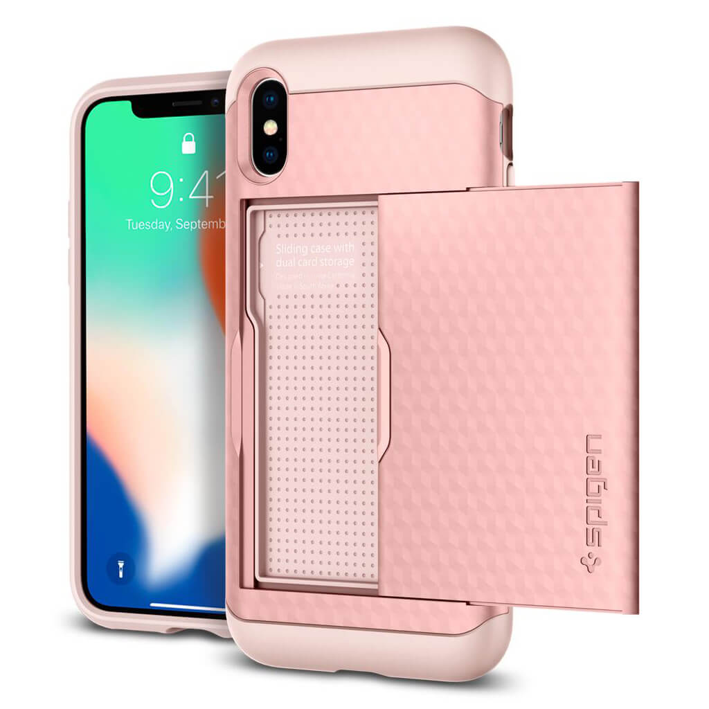 Spigen® Crystal Wallet™ 057CS22152 iPhone X Case - Rose Gold