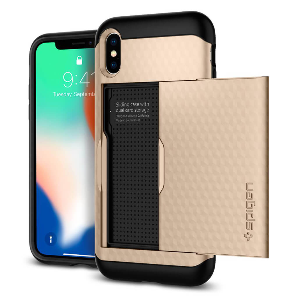 Spigen® Crystal Wallet™ 057CS22153 iPhone X Case - Champagne Gold