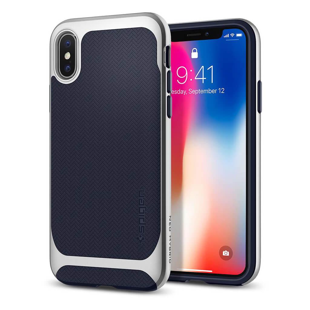 Spigen® Neo Hybrid™ 057CS22167 iPhone X Case - Satin Silver