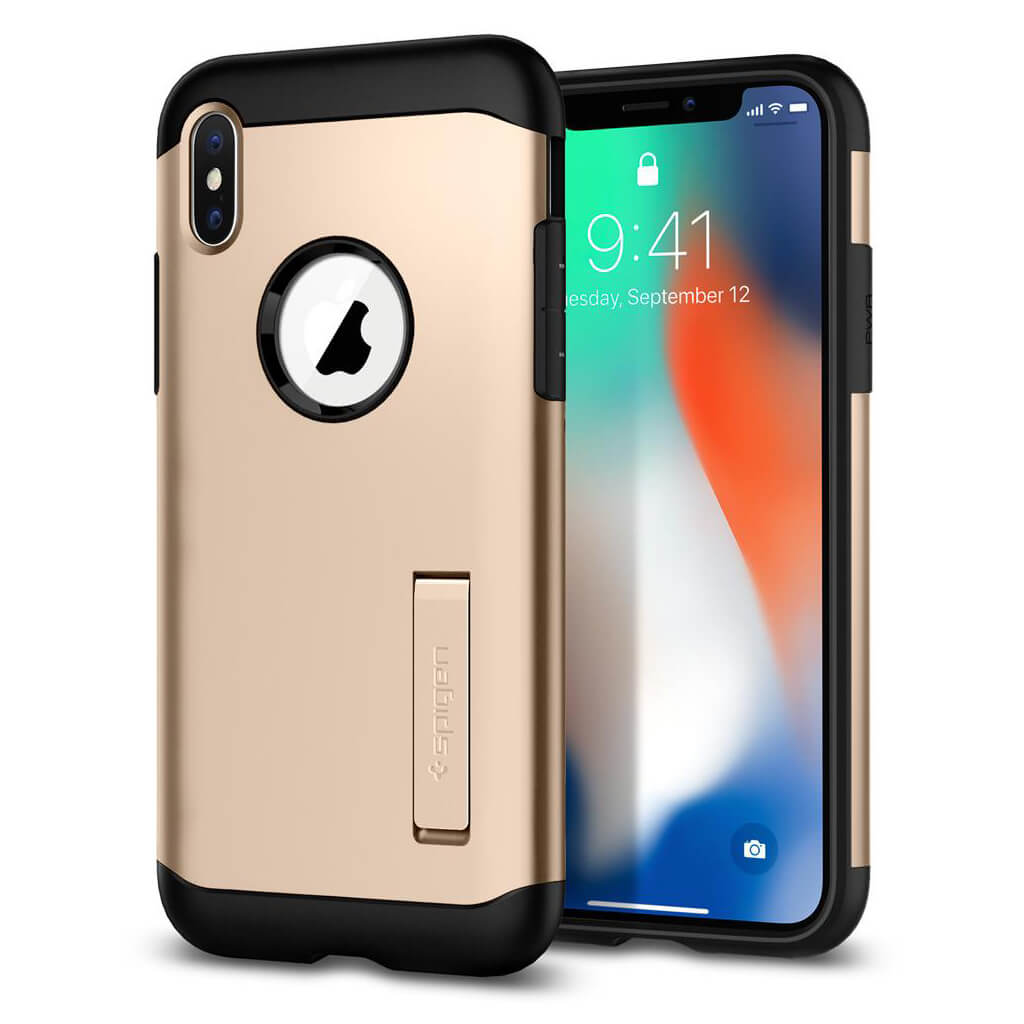 Spigen® Slim Armor™ 057CS22136 iPhone X Case - Champagne Gold