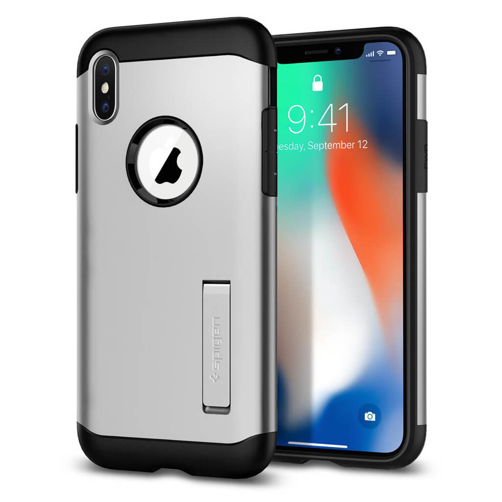Spigen® Slim Armor™ 057CS22546 iPhone X Case - Satin Silver