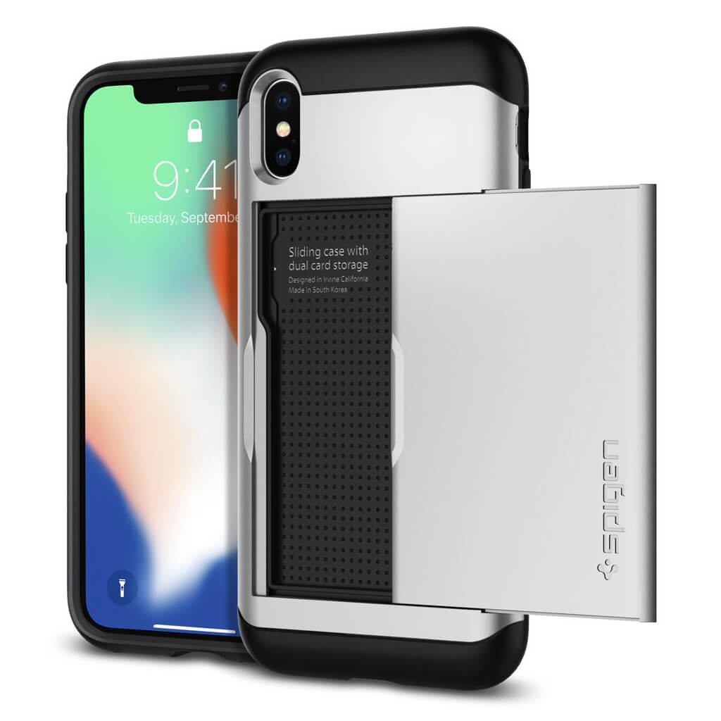 Spigen® Slim Armor CS™ 057CS22158 iPhone X Case - Satin Silver