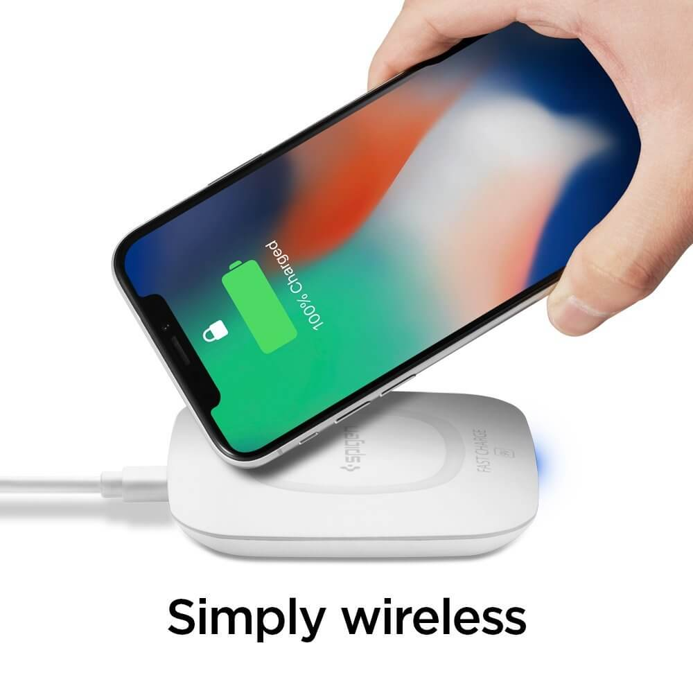 Spigen® Essential® F301W 000CH22588 Qi Fast Wireless Charger - White