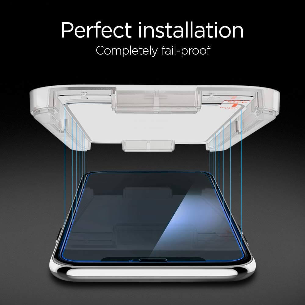 Spigen® (2Pack) GLAS.tR EZ FIT™ Full Cover HD iPhone XS / X Premium Tempered Glass Screen Protector