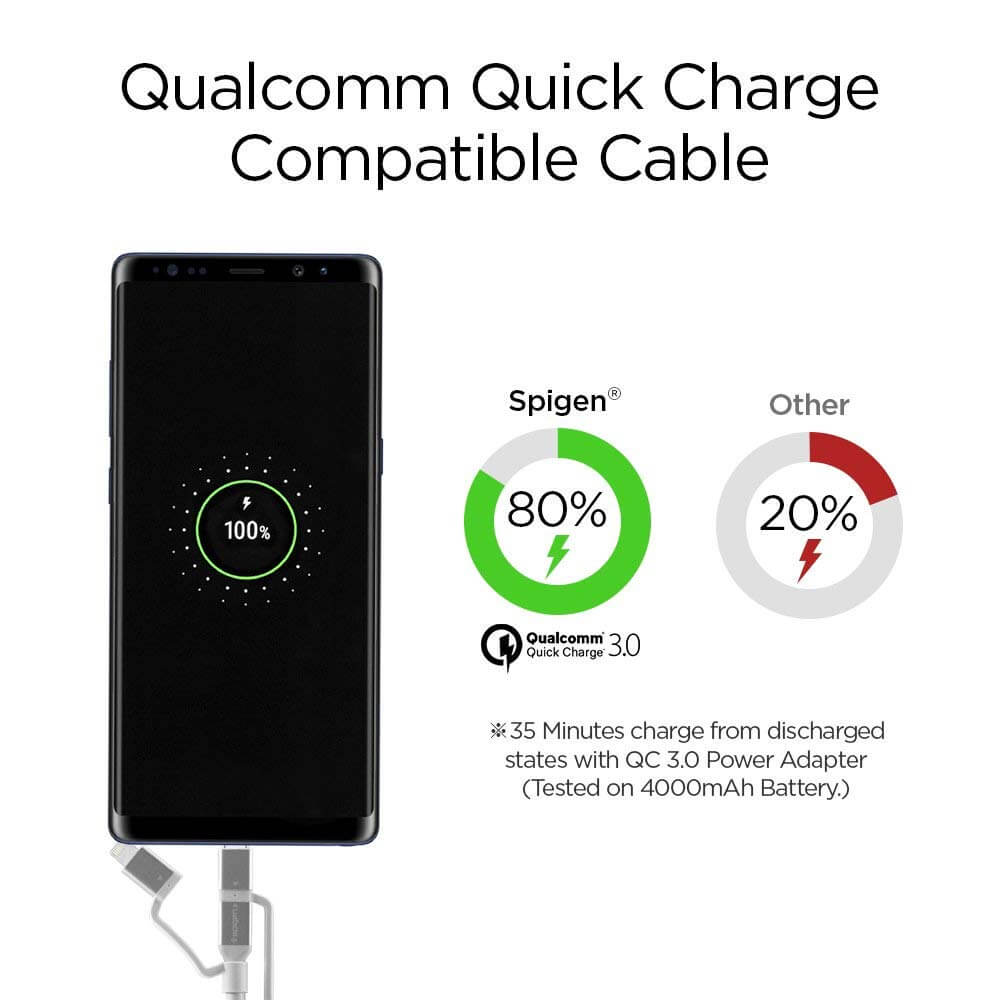 Spigen® Essential® C10i3 000CB23017 3in1 Lightning / Type-C / Micro USB Sync Data & Charge Cable - Silver