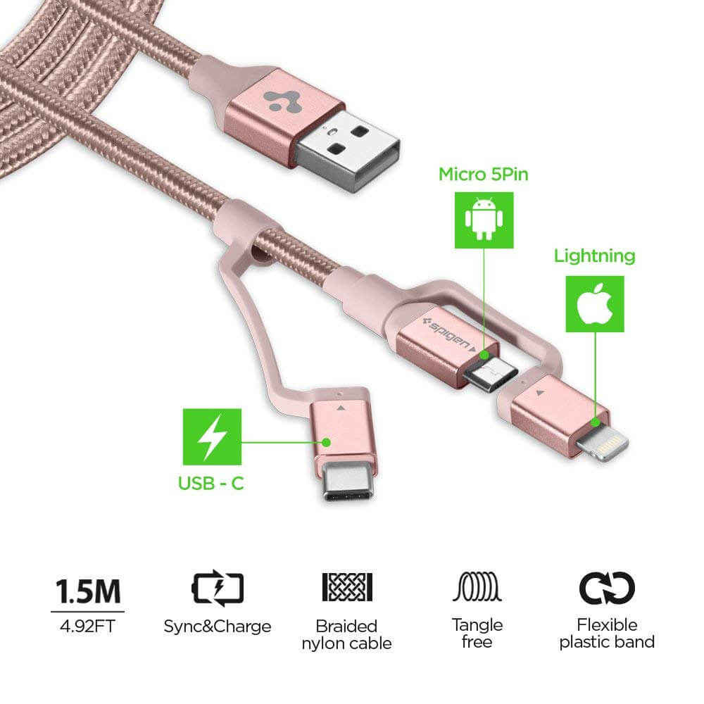 Spigen® Essential® C10i3 000CB23019 3in1 Lightning / Type-C / Micro USB Sync Data & Charge Cable - Rose Gold
