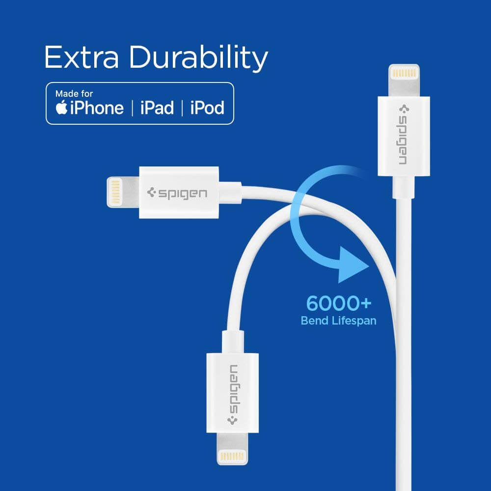 Spigen® Essential® C20LS 000CB24457 Apple MFI Certified Lightning Sync Data & Charging 2.0m Cable