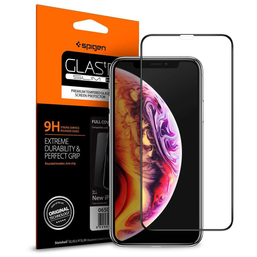Spigen® GLAS.tR™ Full Cover HD iPhone XS Max Premium Tempered Glass Screen Protector