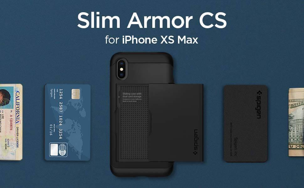 buy online a601b cfe93 Spigen® Slim Armor CS™ 065CS24842 iPhone XS Max Case - Black | SPACEBOY*