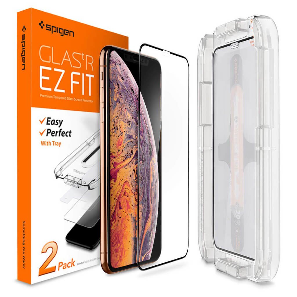 Spigen® (x2Pack) GLAS.tR EZ FIT™ FULL COVER 065GL25171 iPhone XS Max Premium Tempered Glass Screen Protector