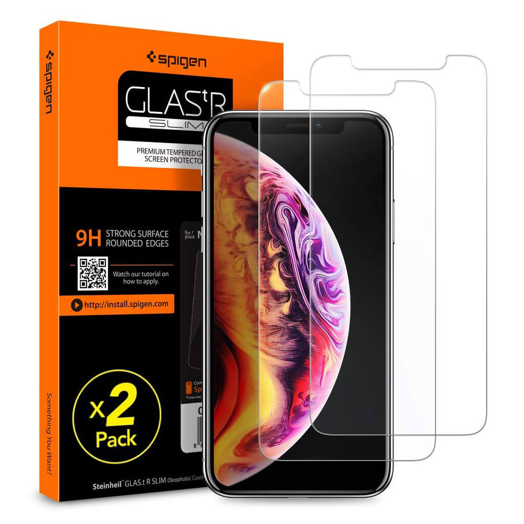 Spigen® (x2Pack) GLAS.tR SLIM™ HD iPhone XS Max Premium Tempered Glass Screen Protector