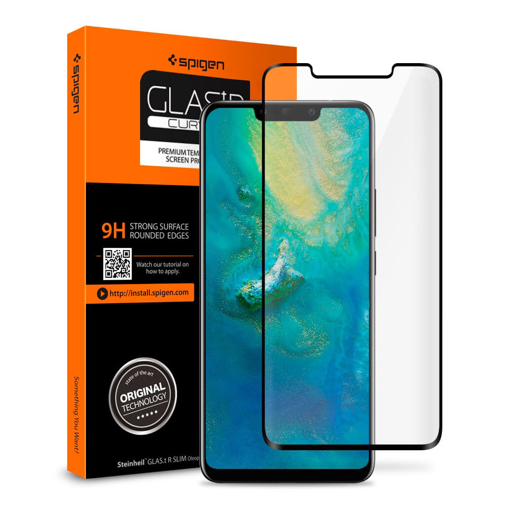 Spigen® GLAS.tR™ CURVED Huawei Mate 20 Pro Full Cover Premium Tempered Glass Screen Protector