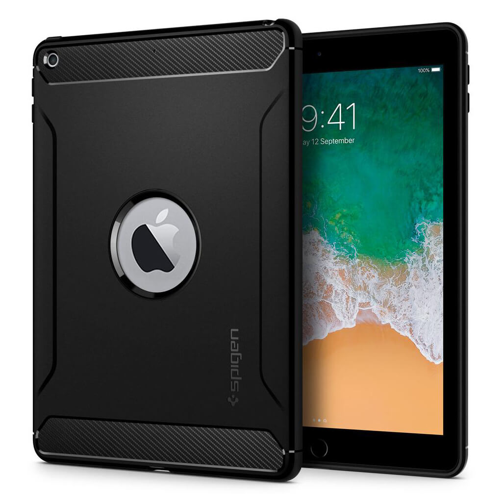 Spigen® Rugged Armor™ 053CS24120 iPad 9.7 (2018/2017) Case - Black