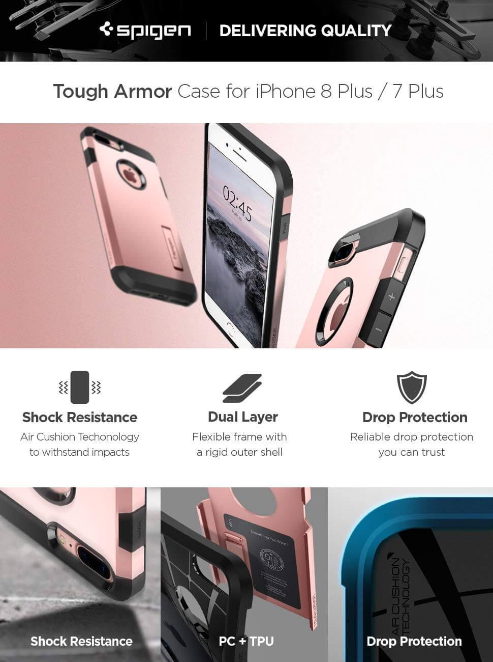 Spigen® Tough Armor™ 2 055CS22245 iPhone 8 Plus / 7 Plus Case - Rose Gold