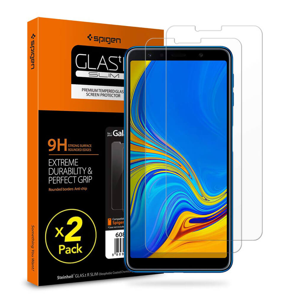 Spigen® (x2Pack) GLAS.tR SLIM™ HD Samsung Galaxy A7 (2018) Premium Tempered Glass Screen Protector