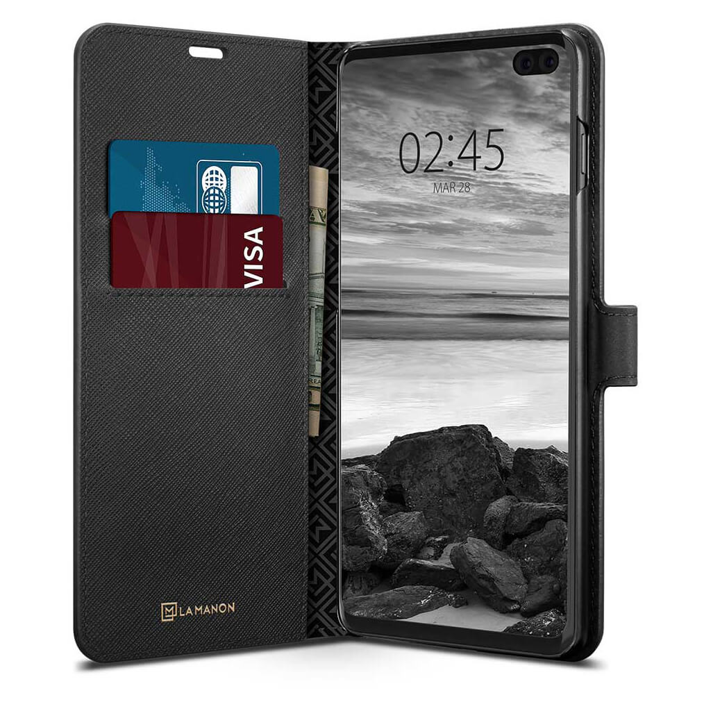 Spigen® La Manon Wallet Saffiano 606CS25784 Samsung Galaxy S10+ Plus Case - Black