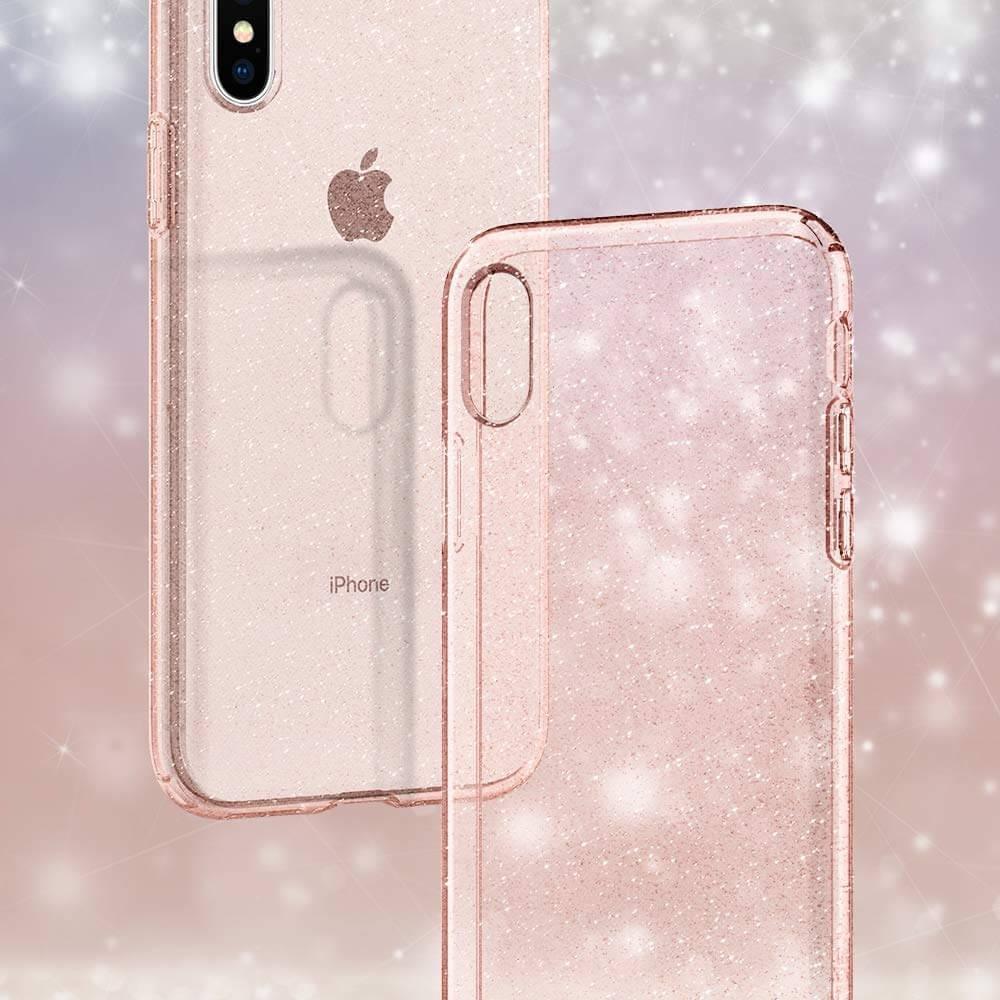 Spigen® Liquid Crystal Glitter™ 063CS25112 iPhone XS / X Case - Rose Quartz